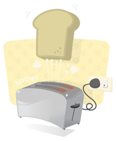 A shiny metal toaster popping out some crispy toast