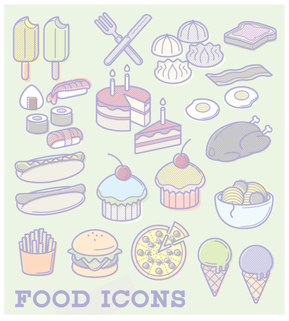 Food Icons in a pastel colour scheme, with halftone dot patterns. Illustration