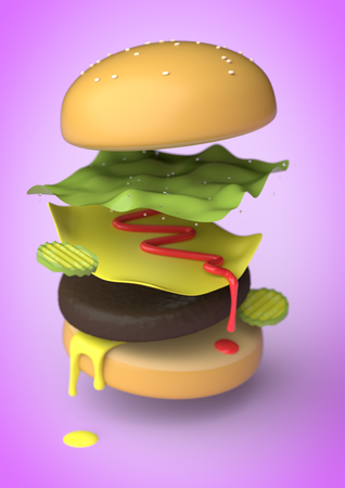 An exploded view of an American Burger in 3D