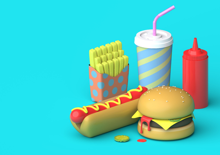 Fast Food Scene - 3D Illustration An arrangement of fast food such as fries, a hot dog, a burger, a milkshake and ketchup on a blue background. The objects are designed in a slight plastic fashion. Stock Photo