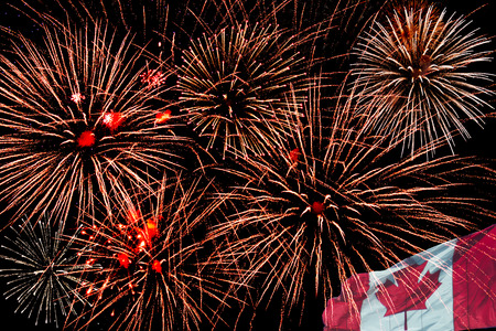 Canada Day fireworks celebration. July 1st Stock Photo