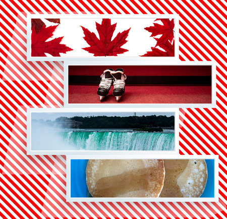 Canada day Live Collage with red maple leaves, hockey skates, Niagara Falls and maple syrup in red and white background