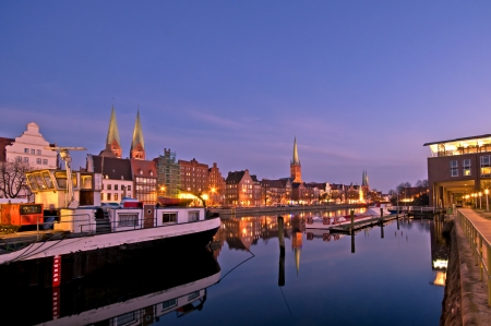 luebeck in the evening with the Marienchurch and Petri tower Petri turm