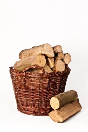 log basket: firewood basket Stock Photo