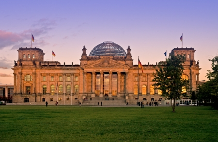 historically: Berlin Reichstag in evening mood