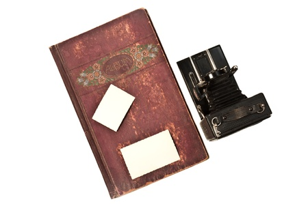 bellows: old album with historic bellows camera