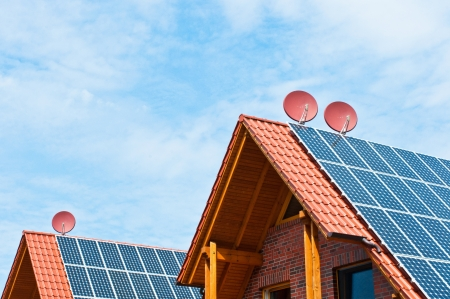 satelite: solar energy roof with satelite dish