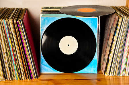 discs: old lps on the shelf to be played back