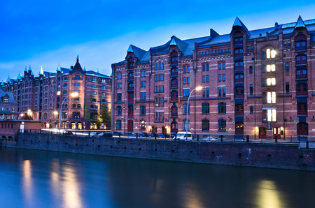 Hamburg warehouse district in the evening