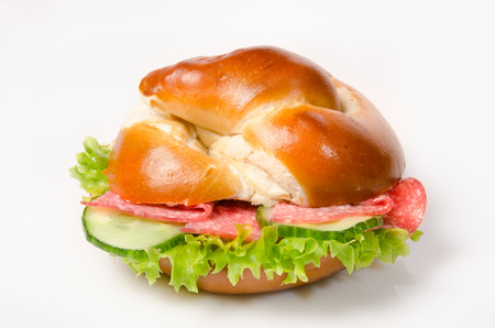 topped: salami Leach bun with lettuce leaf as a snack