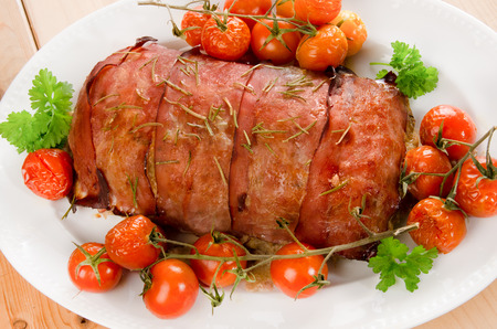 meat loaf: Meat loaf covered with ham after Italian recipe Stock Photo