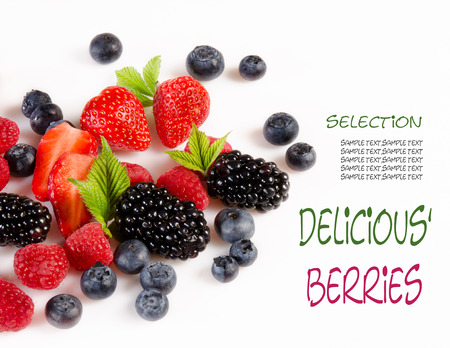 landscape mode: Blackberries, raspberries on white background in landscape mode, with sample text