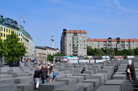 Berlin, Germany 13.August 2015-Holocoust monument,Memorial for the Jews