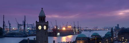 Hamburg, panoramic view of Tower and landing bridges and shipyard