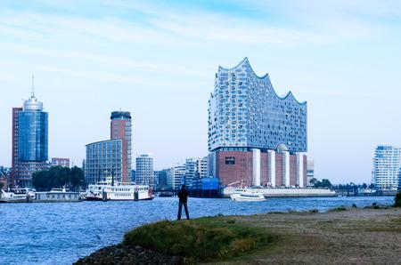 Hamburg, views of HafenCity with Elbphilharmonie