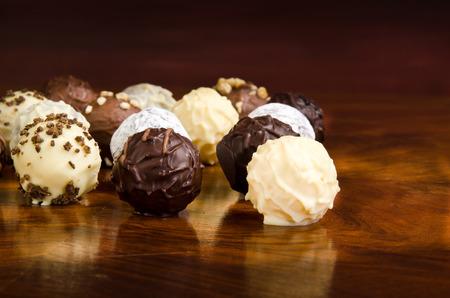 truffle: chocolates, chocolate truffle with liquor filling Stock Photo