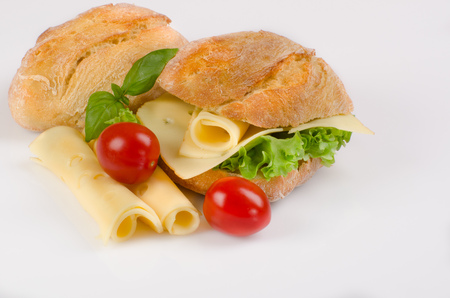 sandwich with cheese and lettuce topped