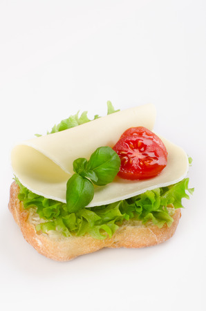 topped: sandwich with cheese,tomato and lettuce topped