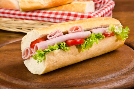 baguette with ham, tomato and lettuce