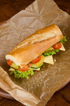 baguette,sandwich with salad and cheese,