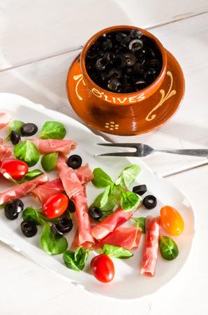 serrano: Serrano ham as a small Starter Stock Photo