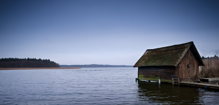 cabin on the Lake in the morning atmosphere, Fisherman's hut