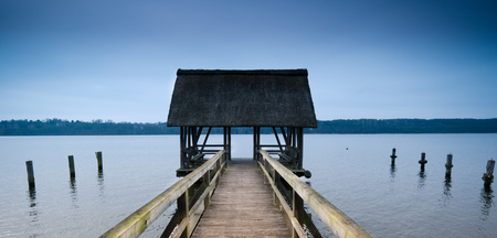 Water dock with cabin on the Lake
