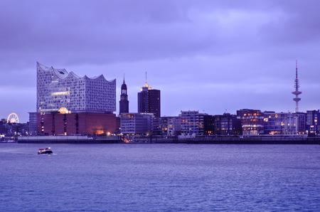 Hamburg's harbour city with St Michaelis Church and Elbe Philharmonic Hall