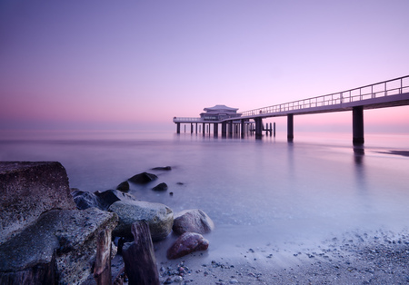Sunrise on the Baltic Sea, luebeck bay, Lake bridge in Timmendorf