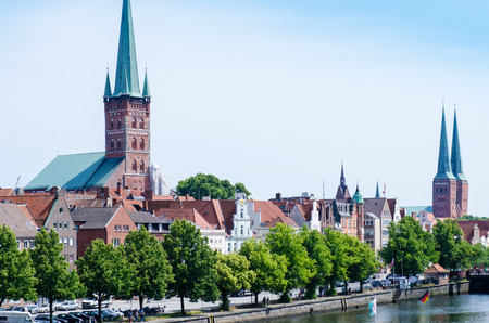 Luebeck, Germany-22 June 2017, City view with Petry Church and Dom Church