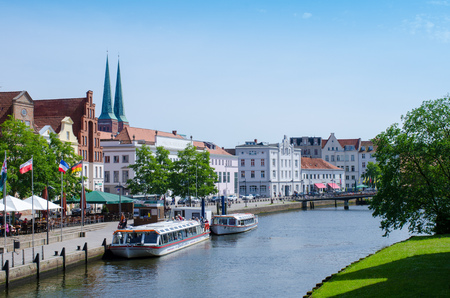 Luebeck, Germany-22 June 2017, City view with Dom Church Editorial