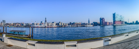 Hamburg panorama with St.Michael and elbphilharmony at nice weather in spring