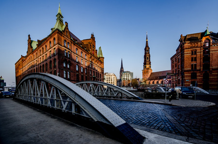 Hamburg city in the morning with St. Catherine's Church and St Nicholas after rain showers Standard-Bild