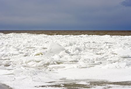 Ice on gulf of Finland in April photo