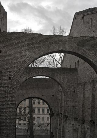 St.Petersburg Underground. Old Brick arcs and walls on New-Holland island. photo