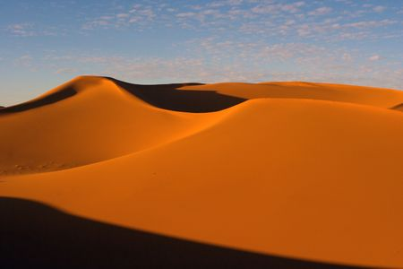 sandhills: Desert on sunset. Erg Chebbi, Sahara, Morocco
