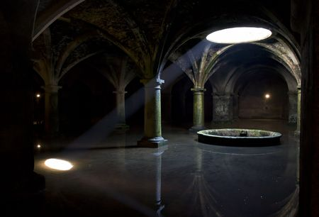 Sunlight beam in darkness in Portuguese Cisterns photo