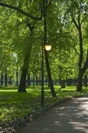 City park with live street light in May, St.Petersburg photo