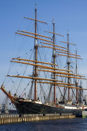 barque: 4-masted steel barque Sedov (the largest traditional sailing ship in operation, 1921) on a mooring in Saint-Petersburg. Stock Photo