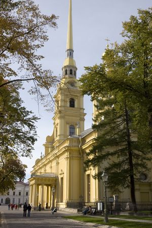Peter And Pauls Cathedral in autumn day, Peter And Pauls Fortress, St. Petersburg, Russia photo