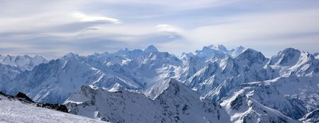 Panoramic view on Greater Caucasus from Mt. Elbrus. Caucasus Mountains, Russia Stock Photo - 3636032