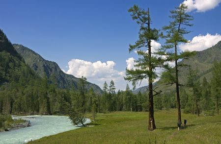 Tourists near mountain river in forest, Altai, Russia Stock Photo - 3808075
