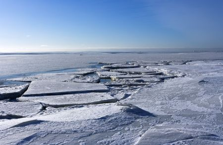 Ice floe on Gulf of Finland (part of Baltic sea) in February photo