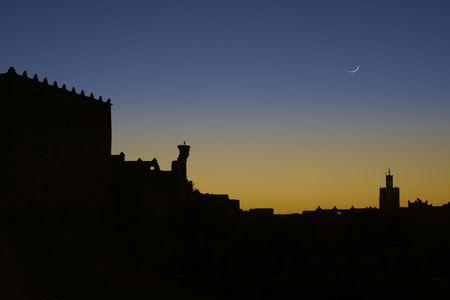 Sunrise silhouette, Kasbah Taourirt, Ouarzazate, Morocco photo