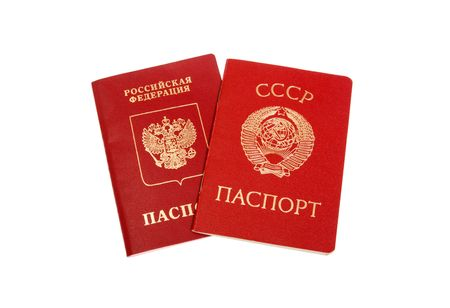 Soviet Union (USSR) and Russian Federation passports. Isolated on white photo
