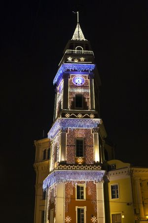 duma: Christmas illumination of The Duma Tower, Nevsky 33, St. Petersburg. Nevsky 33, The City Duma building was the center of local government 1786-1918. The Duma Tower was built 1799-1804 as a watchtower for fires. Ironically the tower was severely damaged by