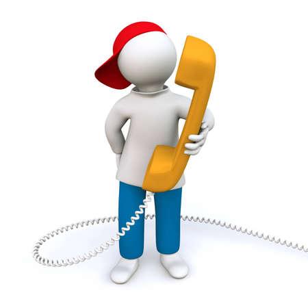 red man: Ilustraci�n 3D, hombre con auriculares Foto de archivo
