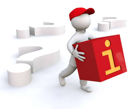 3D Illustration, man holding information symbol illustration