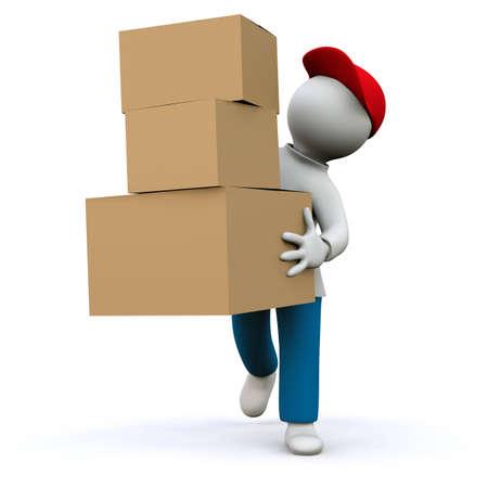 facteur: Illustration, homme distribue le courrier colis