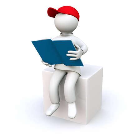 3D Illustration, man reading a book illustration